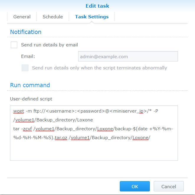 task scheduler miniserver backup script